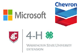 Logos for Microsoft, Chevron, and WSU 4-H Extension